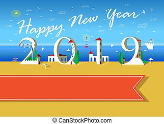 Happy New Year 2019. White Houses