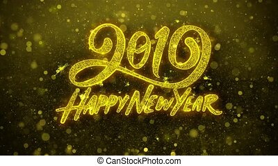 Happy New Year 2019 wishes Greetings card, Invitation, Celebration Firework Looped.