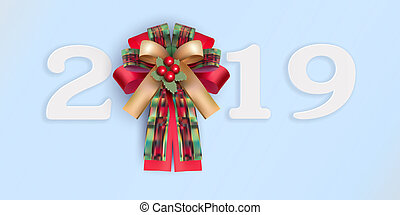 Happy new year 2019 with realistic ribbon on light blue background.