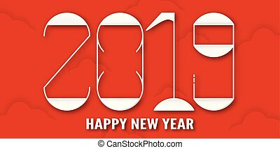 Happy New Year 2019 with shodow of cloud on red background....