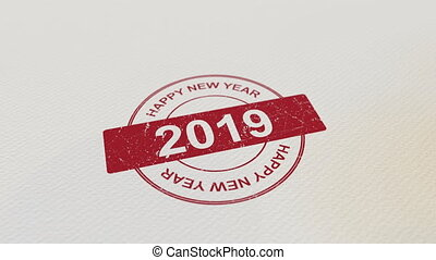 HAPPY NEW YEAR 2019 wooden stamp animation. Alpha matte for...