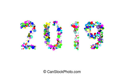 Happy New year 2019 word lettering made with colorful spheres floating and isolated on white background. 3d illustration