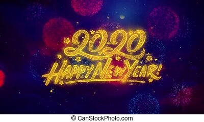 Happy New Year 2020 2019 Greeting Text Sparkle Particles on...
