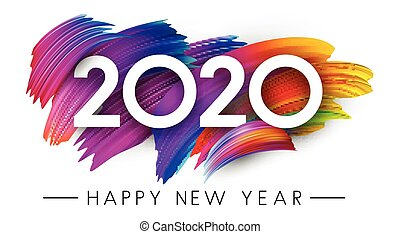 Happy New Year 2020 card with colorful brush stroke design...