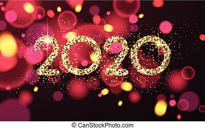 Happy New Year 2020 card with colorful confetti.
