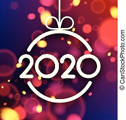 Happy New Year 2020 card with colorful defocused confetti.