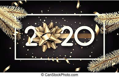 Happy New Year 2020 card with gold fir branches, paper frame and satin bow. Vector background.