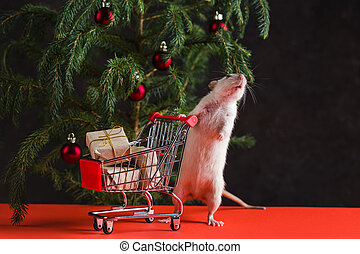 Happy New Year 2020. Christmas composition with a real rat, symbol of the year. A rat near a Christmas tree with toys holds a trolley with gifts after shopping