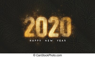Happy New Year 2020. Dark background with gold net and...