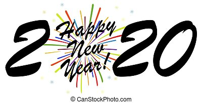 black colored New Year 2020 greetings concept with white background and multi colored fireworks
