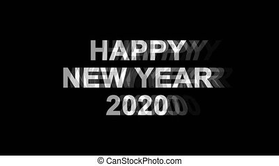 Happy New Year 2020 Glitch Effect Text Digital TV Distortion...