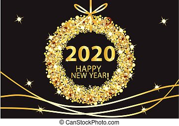 Happy new year 2020 glowing gold background vector