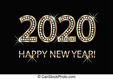 Happy new year 2020 gold background vector