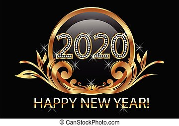 Happy new year 2020 gold floral background vector