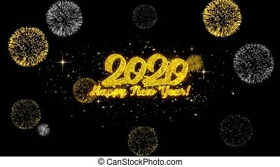 Happy New Year 2020 Golden Text Blinking Particles with...