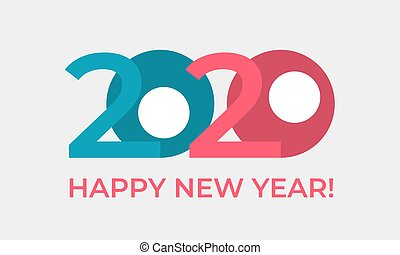 Happy New Year 2020 greeting card in a funny cartoon style