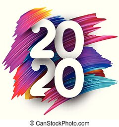 Happy New Year 2020 greeting card with color gradient brush stroke.