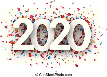 New Year 2020 greeting card with colorful confetti.
