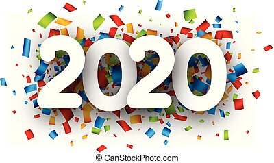 New Year 2020 greeting card with colorful paper confetti.