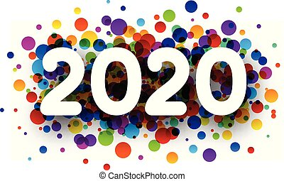 New Year 2020 greeting card with colorful round confetti.