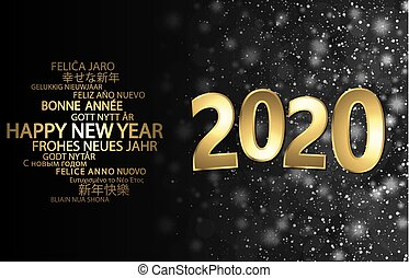happy new year 2020 greetings with golden numbers and black background