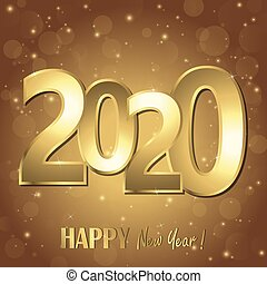 happy new year 2020 greetings with golden numbers and brown background