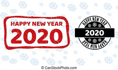 Happy New Year 2020 Grunge and Clean Stamp Seals for New Year