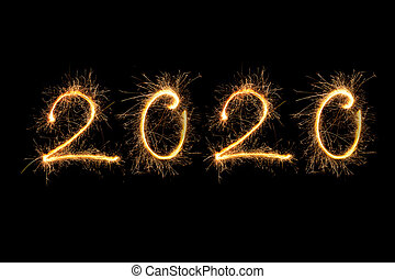 Happy new year. 2020 made from fireworks.