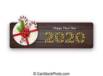 Happy New Year 2020. Holiday gift box with fir tree branches, tied red bow, candy canes and numbers of golden stars on dark wood background. Template for a banner, poster, invitation. Vector illustration