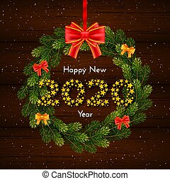 Happy New Year 2020. Holiday gift card with fir wreath and red bow on dark wood background. Template for a banner, poster, invitation. Vector illustration