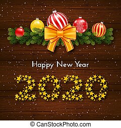 Happy New Year 2020. Holiday gift card with numbers of golden stars, fir garland, bow and Christmas balls on dark wood background. Template for a banner, poster, invitation. Vector illustration