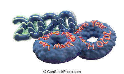 Happy New Year 2020 in the form of blue donuts poured on top of a pink caramel. New Year sign. 3d rendering isolated on white background Selective focus macro shot with shallow DOF