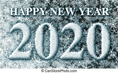 Happy New Year 2020 made from Snow Flakes ? 3D illustration