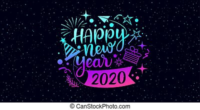 Happy new year 2020 message with icons purple and blue design