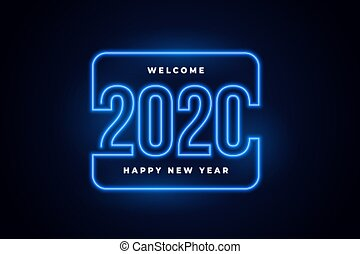 happy new year 2020 neon lights glowing background