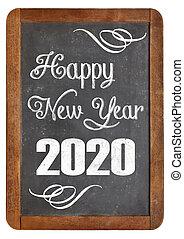 happy new year 2020 on blackboard