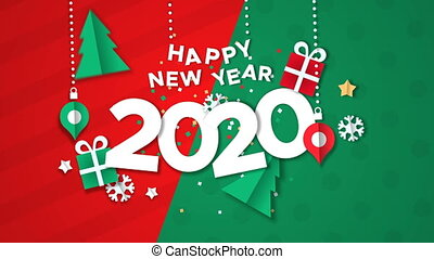 Happy New Year 2020 animation, papercut with baubles, gift and holiday pine tree. Paper craft video greeting card of calendar number for eve party, 4k xmas footage fade out to white background.