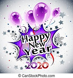 Happy New Year 2020, purple greeting card