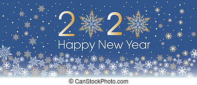 Happy New Year 2020 template with gold and white snowflakes and stars.