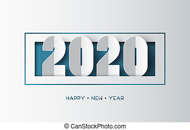Happy new year 2020 text design with paper cut style.