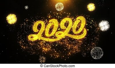 Happy new year 2020 text Sparks Particles Reveal from Golden...