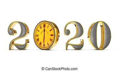 Gold figures rotate around its axis, changing the date of time. Magic golden number on a white background