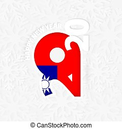 Happy New Year 2020 with flag of Taiwan on snowflake background