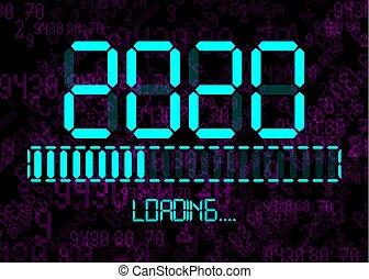 Happy new year 2020 with loading icon in flat ciano led neon digital time style. Display progress bar almost reaching new year's eve. Isolated on Abstract Binary Computer Code Technology Background