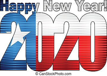 Happy New Year 2020 with Texas flag inside - Illustration