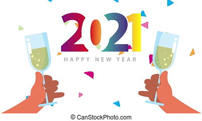 happy new year 2021 celebration with colorful numbers and champagne toast
