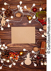 Happy New Year 2021. Christmas decorations on a wooden background