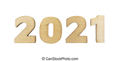 Happy New Year 2021 concept, Wood block 2021 isolated on white background