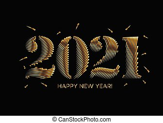 Happy New Year 2021 Gold Text Typography Design poster, Vector illustration.