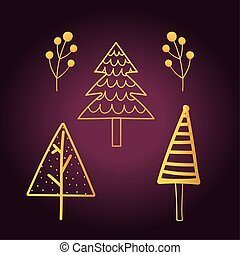 happy new year 2021 golden icons set different trees and foliage